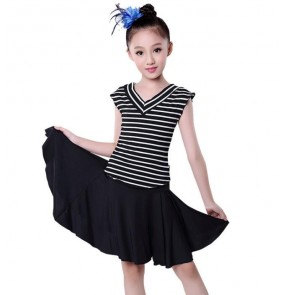 Black and white striped V neck Spandex Gymnastics Latin Dancing Dress Kids Dance Wear Skating Dresses for Girls costumes