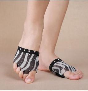 Black and white zebra printed rhinestones girls women's practice exercises ballet belly dance thong shoes socks