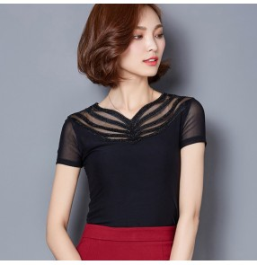 Black  appliques flowers short sleeves ruffles neck women's ladies female competition performance ballroom flamenco salsa waltz tango dance dresses tops blouses