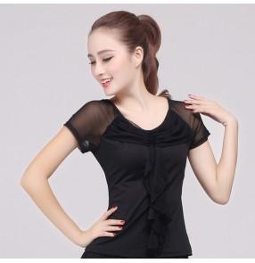 Black blue  women's short sleeves competition performance professional latin ballroom tango waltz dance tops blouses