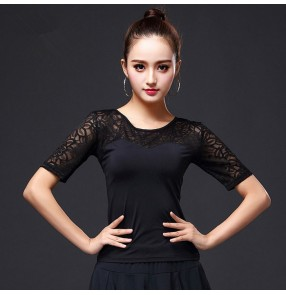 Black brown hollow long sleeves with  bowknot fashion women's ladies competition women's ladies latin ballroom dancing tops blouses shirts