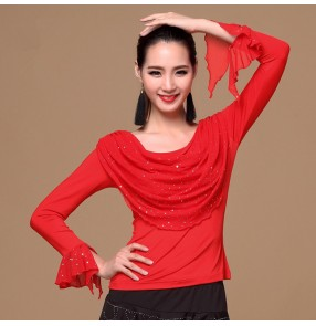 Black colored paillette sequined women's ladies female womens long sleeves ballroom waltz tango latin dance tops only