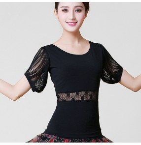 Black colored women's ladies female competition lace sleeves personalized neckline ballroom latin waltz tango dance tops only