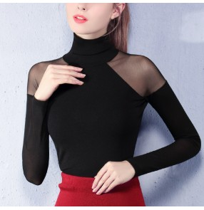 Black colored women's ladies female competition professional loose sleeves ballroom waltz tango latin dance tops only