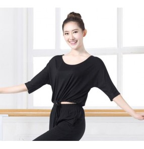 Black colored women's ladies female competition professional one loose short sleeves round neck ballroom tango waltz dance tops only