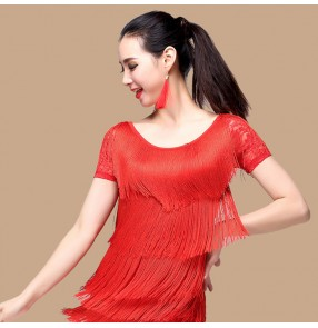 Black colored women's ladies female competition professional short sleeves lace back ballroom waltz tango dance tops only
