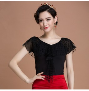Black colored women's ladies female exposure shoulder loose v neck competition tango waltz ballroom dance tops only