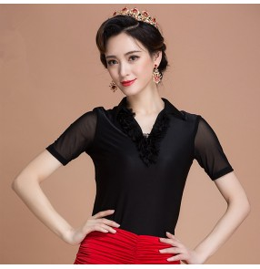 Black colored women's ladies female round neck cap lace tulle loose sleeves back cover competition professional ballroom latin tango waltz dance tops only