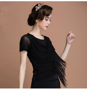 Black colored women's ladies lace patchwork long sleeves and ruffles decoration back and sleeves round neck sexy competition latin ballroom tango waltz dance tops only