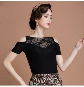 Black embroidery fuchsia flower paillette womens women's ladies female cap sleeves latin  competition tango waltz ballroom dance tops only