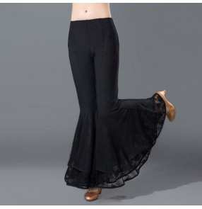 Black flare leg long length wide leg competition women's ladies performance practice Aerobics ballroom latin dance pants