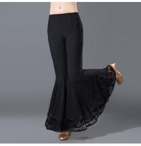 Black flare leg long length wide leg competition women's ladies performance practice Aerobics ballroom latin dance pants