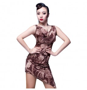 Black floral printed sleeveless competition professional women's ladies latin salsa rumba cha cha dance dresses outfits