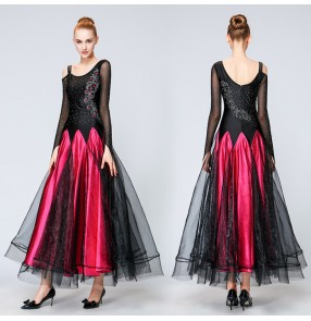 Black fuchsia hot pink long length rhinestones competition women's ladies professional performance ballroom waltz dresses