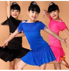 Black fuchsia royal blue girls kids children competition performance fringes latin salsa dance dresses outfits