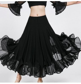 Black full skirted women's competition practice performance ballroom tango dancing skirts