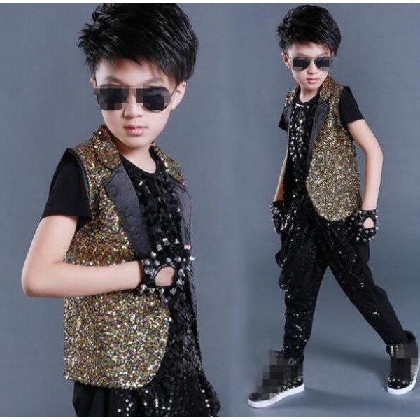 b74230711ad3 Black gold rainbow sequins paillette vest and harem pants boys kids ...