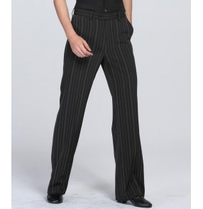 Black gray striped straight competition professional men's male latin ballroom dance pants trousers