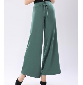 Black green red female ladies wide leg swing ballroom latin performance Pantalones Mujer Women Pants Long Trousers Pants Dance pants
