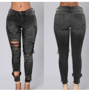 Black hole ripped jeans women pants Cool denim vintage straight jeans for girl Mid waist casual Pencil pants female