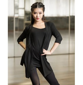 Black  hollow back front open women's ladies competition performance latin ballroom dance outwear cardigans tops and sashes