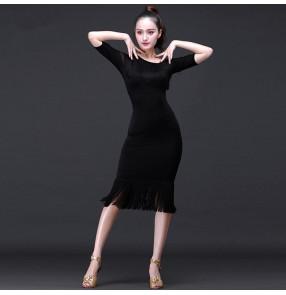Black Hot Sale Latin dance costume spandex tassel stones latin dance dress for women latin dance competition dresses