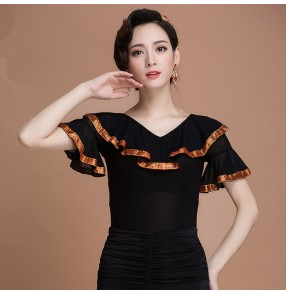 Black lace ruffles slash neck new shoulder women's ladies female competition performance latin ballroom tango waltz dance tops blouses