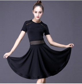 Black Latin dance costume sexy milk silk short sleeves tassel latin dance dress for women latin dance costume dresses
