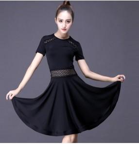 Black Latin dance costume sexy milk silk short sleeves tassel latin dance dress for women latin dance costume dresses