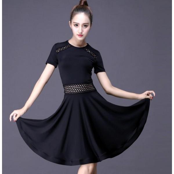 59b7b9032 Black Latin dance costume sexy milk silk short sleeves tassel latin dance  dress for women latin dance costume dresses