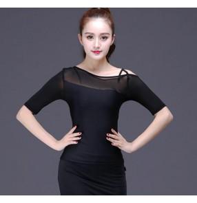 Black Latin dance costumse sexy milk silk short sleeves latin dance tops for women ballroom latin dancing blouses