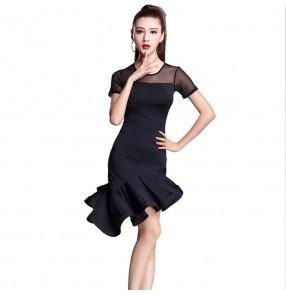 Black latin dance dress women tango dress salsa rumba modern dance costumes women latin dress dancing clothes Dancewear