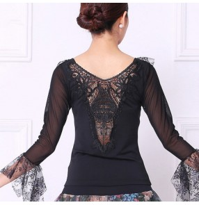 Black Latin Dance Top For Women Long Sleeve Dancing Shirts blouses Sexy Vogue Ballroom Costume Performance Dancing Wear