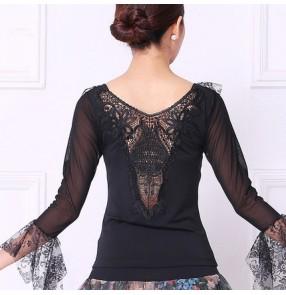 Black Latin Dance Top For Women Long Sleeve Dancing Shirts blouses Sexy Vogue Ballroom Costume Performance Dancing Wear