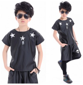 Black leather fashion modern dance toddlers boys kids children competition hip hop jazz dance tops false two piece pants