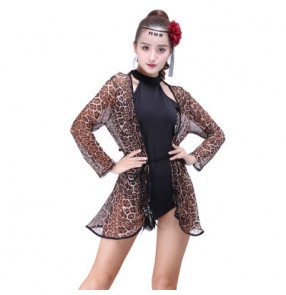 Black leopard see through fabric sexy fashion long sleeves women's performance gymnastics latin salsa cha cha dance cardigans tops