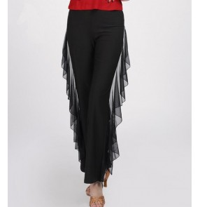 Black long pants side with fringes women's ladies practice exercises tango waltz ballroom dance pants