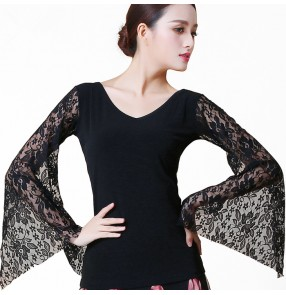Black long sleeves hollow front sexy fashion women's ladies competition performance latin ballroom cha cha dance tops shirts blouses