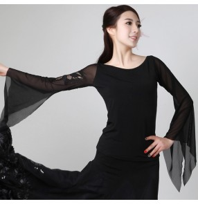 Black long sleeves women's ladies female competition performance professional ballroom tango waltz dance flamenco dancing tops blouses