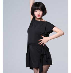 Black loose style batwing sleeves with sashes women's ladies competition professional latin salsa dance dresses tops