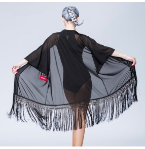 Black mesh fabric fringes Latin Dance Dress Women Professional Latin Samba Dance Latin Salsa Dresses tops
