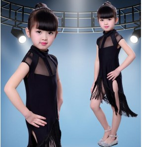 Black mesh patchwork fringes girls kids children competition exercises girls latin cha cha dance dresses
