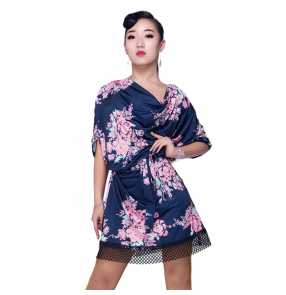 Black navy floral printed  rose women's ladies professional gymnastics professional latin salsa rumba dance dresses