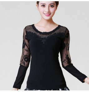 black patchwork women's ladies  sexy stage performance competition ballroom latin salsa samba tango dance tops blouses