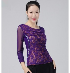 Black purple lace patchwork competition performance women's ballroom tops blouse