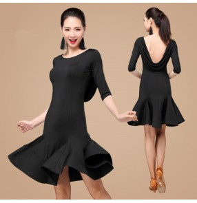 Black red backless short sleeves competition practice women's ladies exercises latin salsa cha cha dance dresses