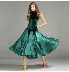 Black red  dark green Ballroom dance costumes sexy senior sleeveless velvet ballroom dance dress for women ballroom dance competition dresses
