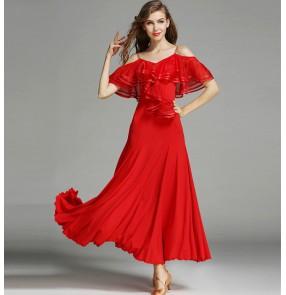 Black red dark green long length dew shoulder women's performance competition ballroom tango waltz dance dress