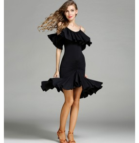 Black red dew shoulder ruffles neck sexy fashion women's ladies competition performance latin salsa rumba dance dresses