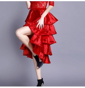 Black red Flamenco Skirt Belly Dance 360 Degree Circle Big Skirt Costume Spanish Dance bull dance triangle dance Wrap Skirt